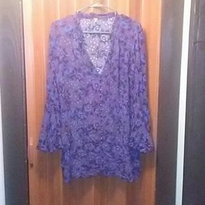 Magic Mystery tunic purple blue Flowers